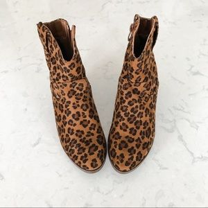Leopard suede booties
